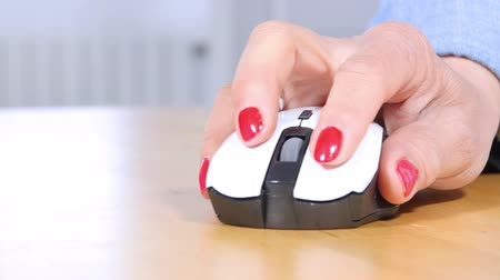 fare : Female hand holding computer mouse Stok Video