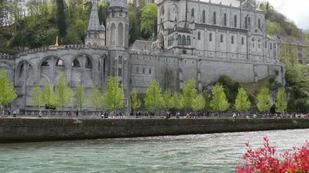FRANCE, LOURDES. View of the cathedral in Lourdes, France Stok Video