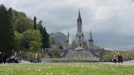FRANCE, LOURDES. View of the cathedral in Lourdes, France Dostupné videozáznamy