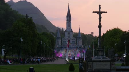 the basilica of Lourdes at sunset