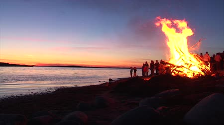 desolado : A big bonfire party during a sunset on a beach by the ocean.  Kids playing around the fire.
