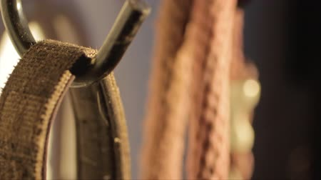 herélt ló : Dolly macro shot of riding gear like bridles and snaffles hanging in a stable.