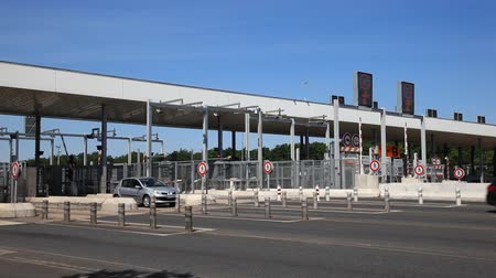 trave : Toll station on the highway in France
