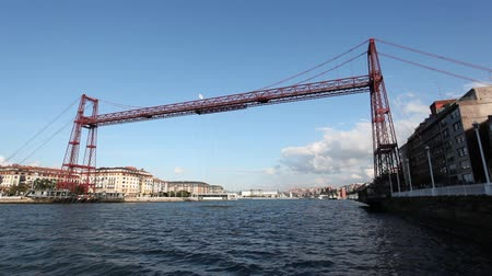 vizcaya : Vizcaya Bridge or Puente Colgante - a hanging bridge between Portugalete and Getxo, Bizkaia. Bilbao, Spain Stock Footage