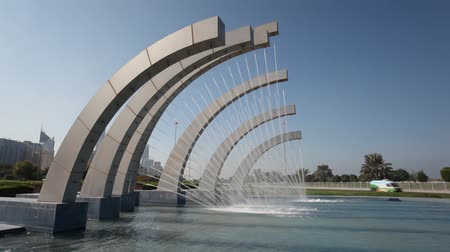 szökőkút : Fountain at the corniche road in Abu Dhabi, UAE