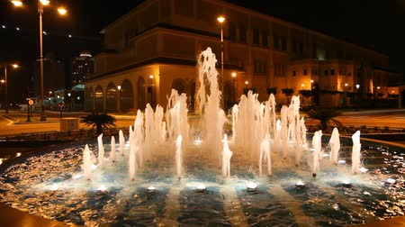 porto arabia : Fountain illuminated at night in Doha, Qatar, Middle East