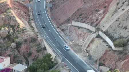 Aerial view of a highway in Lorca, community of Murcia, Spain