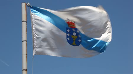 Flag of Galicia - an autonomous community in Spain Стоковые видеозаписи