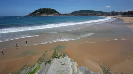 Beautiful beach in the city of San Sebastian, Basque country, Spain