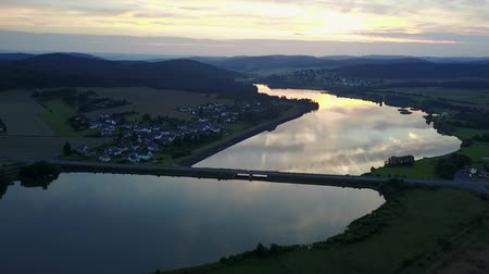 Aerial view of the Aar Dam and its reservoir, the Aartalsee in Hesse, Germany