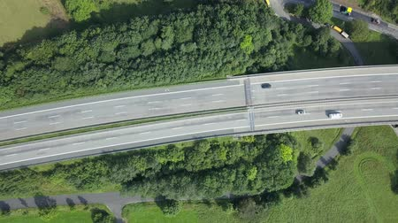 German autobahn highway viaduct bridge view from above Стоковые видеозаписи