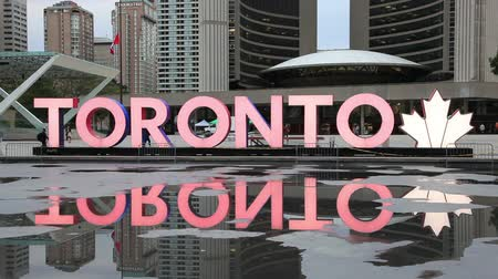 Toronto, Canada - Oct 12, 2017: Time lapse of the colorful Toronto sign at the Nathan Phillips Square in the city of Toronto. Province of Ontario, Canada