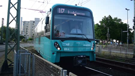 Bockenheim, Germany - July 6, 2018: In the beginning of the 19th century the railroad system got the name u-bahn. The trains operate above and underground throughout  the Frankfurt area and suburbs. In some cities the system is called s-bahn. The overhead