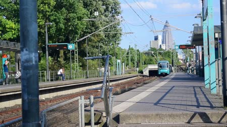 Bockenheim, Germany - July 6, 2018: In the beginning of the 19th century the railroad system got the name u-bahn. The trains operate above and underground through the Frankfurt area and suburbs. In some cities the system is called s-bahn. The overhead pow