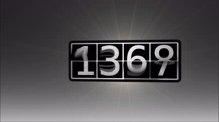 until : Counter or departure board flipping numbers fast until it Reaches 9999. Camera zoom and rotation object. Stock Footage