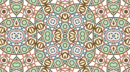 aboriginal : Kaleidoscope seamless loop sequence mandala patterns abstract multicolored motion graphics background. Ideal for yoga, clubs, shows Stock Footage