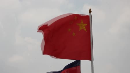 clipping path : China flag Stock Footage