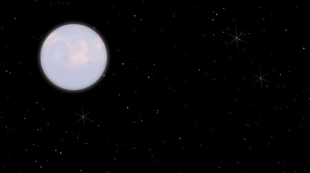 the moon with star design Stock Footage