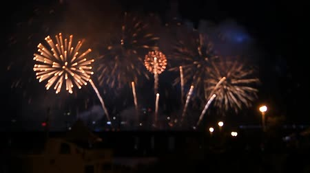han river : fireworks display scene of a festival, Seoul, Korea, fast forward 3x