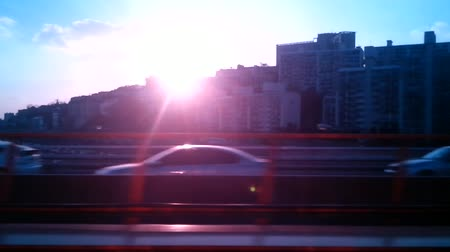 traverse : Crossing the Han river, large bridge, evening glow, sunset, Seoul Korea Stock Footage