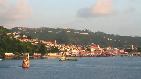 City on the coast of the Caribbean Sea. St. Georges, Grenada Stock mozgókép