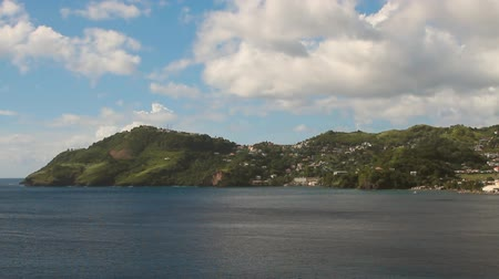 Baai en kust van tropisch eiland. Clare Valley, Saint Vincent en de Grenadines Stockvideo