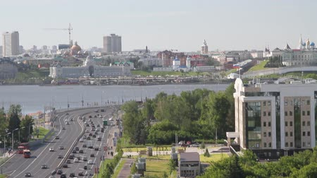main : Thoroughfare and city on river bank. Kazan, Tatarstan, Russia