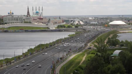 lenin : Transport dam, river and city. Kazan, Tatarstan, Russia Stock Footage