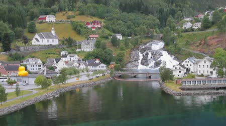 port n : Port water area, settlement and falls. Hellesylt, Norway