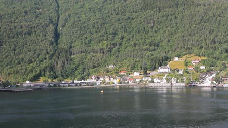 port n : Sea gulf and settlement ashore. Hellesylt, Norway