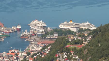 north bay : Bergen, Norway - Jul 10, 2018: Seaport and cruise liners in port Stock Footage