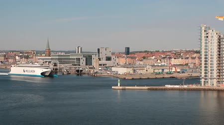 north bay : Ferry, port and city. Aarhus, Jutland, Denmark