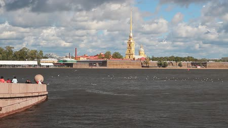 peter and paul fortress : Embankment, river and fortress. St. Petersburg, Russia Stock Footage