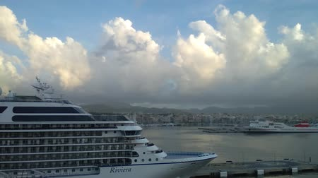 balear : Palma-de-Mallorca, Spain - Oct 02, 2018: Seaport and cruise liner on parking