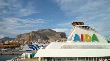 mooring : Palermo, Italy - Oct 04, 2018: Decks of cruise liner and Mount Pellegrino