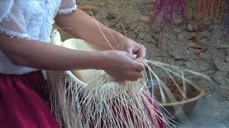 zanaat : Weaving a Panama hat, Ecuador Stok Video