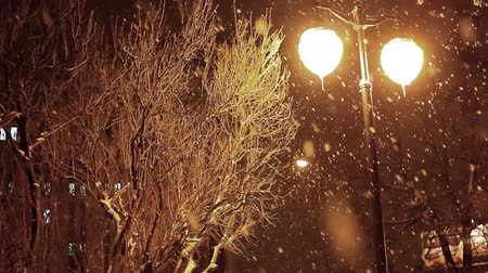 kar fırtınası : snowing winter night and shine lights