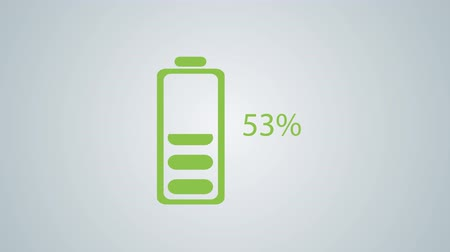 низкий : Flat Design Animated of Battery Charging with Percentage 0-100