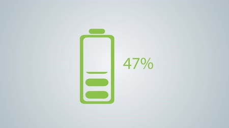 charged : Flat Design Animated of Battery Charging with Percentage 100 Down to 0 Stock Footage