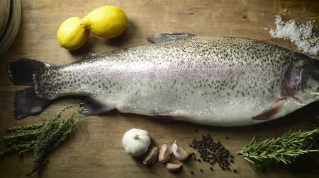 Overhead panning shot of a fresh rainbow trout with ingredients 影像素材