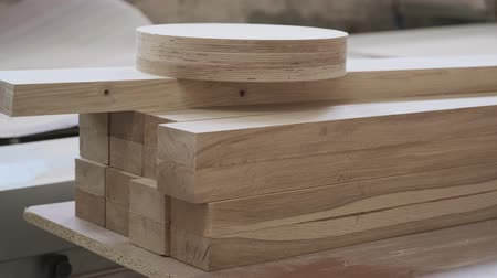 Wooden furniture details, background carpentry woodworking woodshop Stok Video