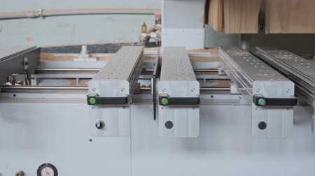 Automated woodworking machine in the carpentry workshop. Stok Video
