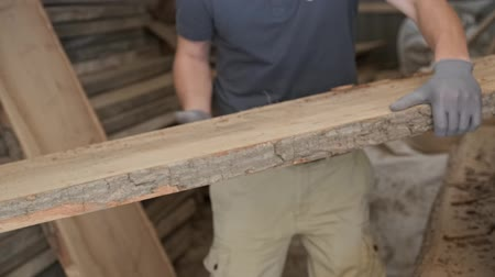 pilka : Close-up of carpenters hands with plank wood at carpentry woodworking workshop.