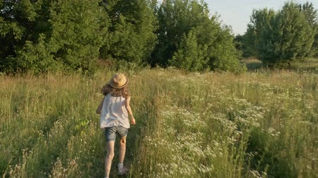 Little girl in hat running through a blooming summer meadow, back view, nature landscape, golden hour