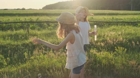 Children blowing soap bubbles, two girls playing in nature, summer rural landscape, golden hour Stok Video