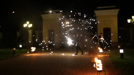 Fire show, blurred focus.