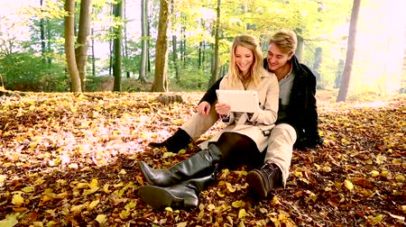 casal heterossexual : Couple using tablet pc in autumn park, sitting on leaves