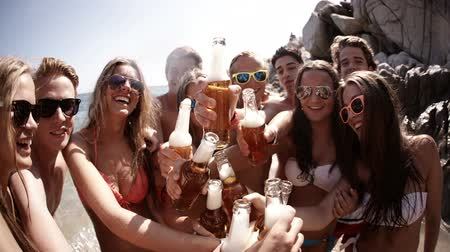 бикини : Group of friends cheers with beers at the beach Стоковые видеозаписи