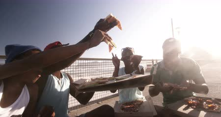 longboarder : Teenage friends cheers with pizza while sitting at the beach on their longboards