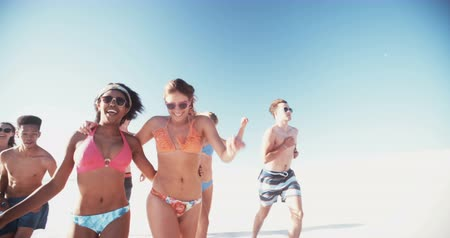 razem : Rearview shot of a group of friends of mixed races having fun running on the beach together in summer in slow motion Wideo